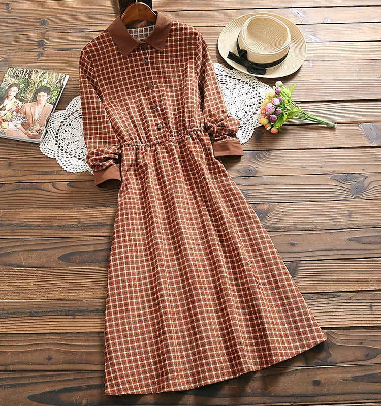 Mori girl fashion plaid dress spring new arrival corduroy long sleeve vintage dress for women
