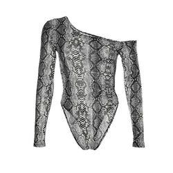 Bodycon Off Shoulder Sexy Bodysuit Women Snake Printed  Jumpsuits Womens Long Sleeve Rompers Female Streetwear Autumn