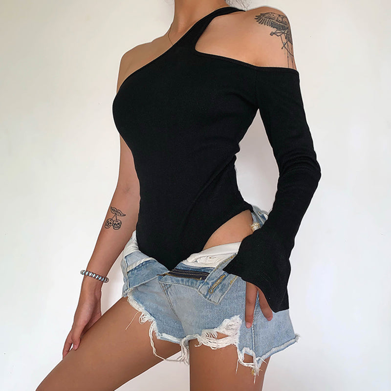 Sexy Bodysuits Women Single Long Sleeve Gothic Backless Halterneck  Autumn Femme Playsuits Club Streetwear