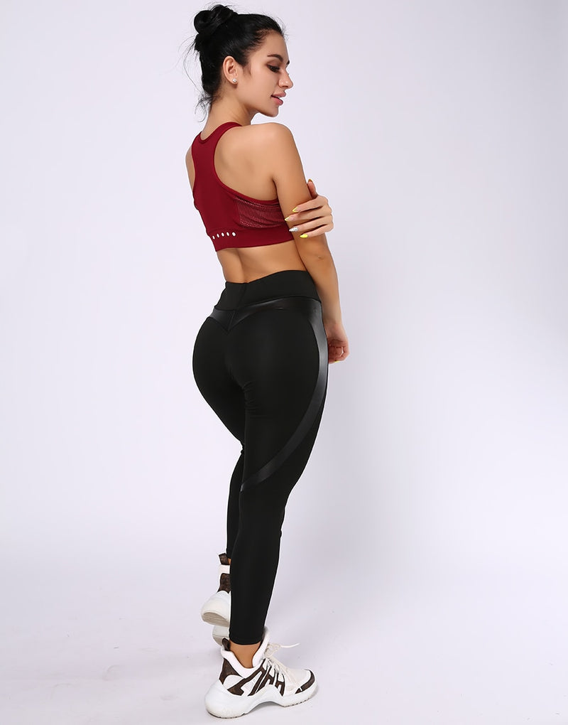 Fitness Leggings Women High Waist Black Heart PU Leather Patchwork Outfits