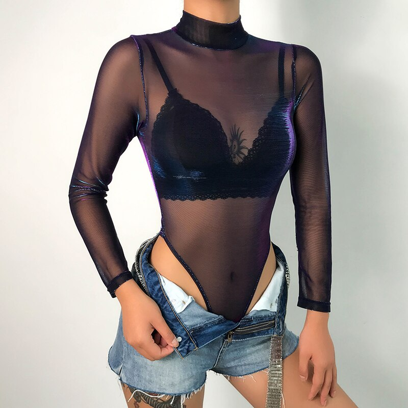 Turtleneck Mesh Hollow Out See Through Bodysuits Women Long Sleeve Autumn Fishnet Transparent Jumpsuit Femme Playsuit