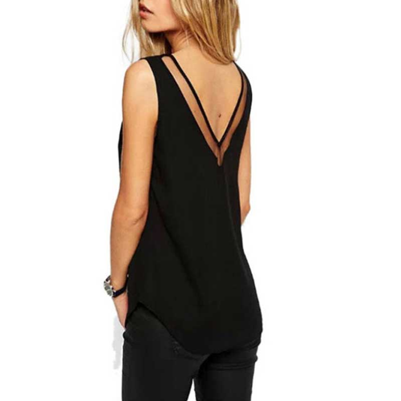 Newly Hot Sales Fashion Office Lady Chiffon Slim Loose V-Neck Sleeveless Vest Shirt Blouse Tops For Women Girls MSK66
