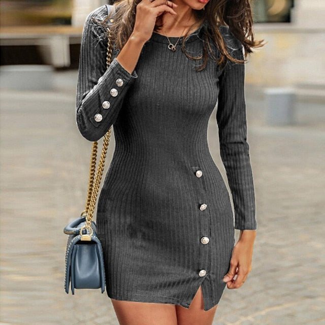Short Women Dress Long Sleeve Autumn Winter Sexy Bodycon Mini Dress With Button Slit Plus Size Ladies Casual Black Dress