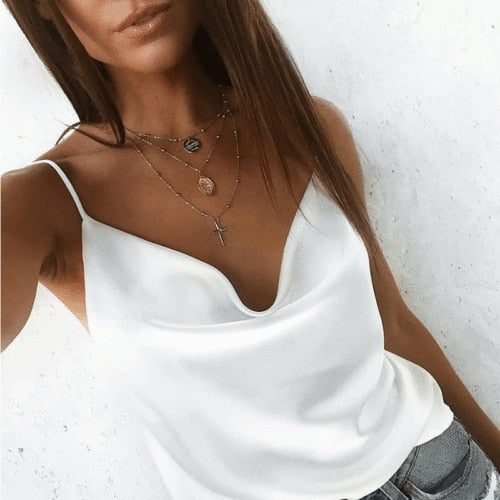 High Quality New Hot Sale Fashion Women Casual Style Satin Silk V Neck Lace Vest Tops Strappy Summer Beach Cami Tank Top