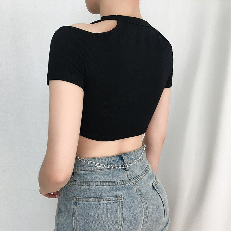 Women Short Sleeve Slim Crop Tops Hollow Chain Cross Tank Top T-shirt off shoulder tops for women