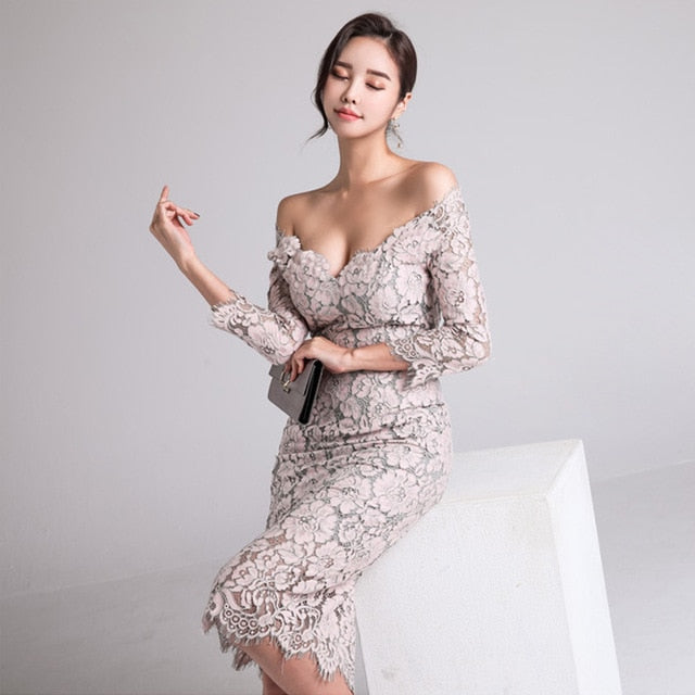 New arrived Fashion Women's Dress Fall One-neck Low-breast Lace Seven Sleeve-wrapped Hip Dress