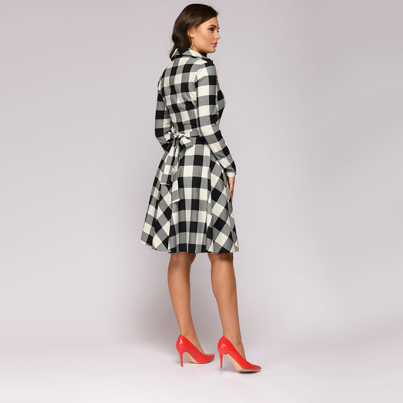 Women Vintage Sashes Plaid a Line Party Dress Ladies Long Sleeve Turn Down Collar Elegant Dress  Winter Fashion Office Work