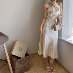 Women Dress Sleeveless Off Shoulder Dress Champagne Vintage Halter Sexy Long Summer Women Clothes 2019 New Fashion X458