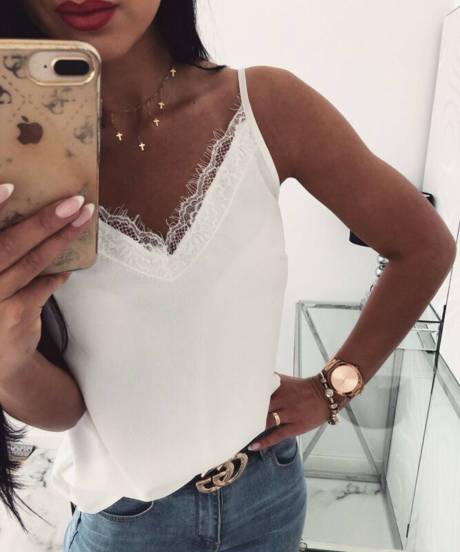 Autumn Women Satin Silk Lace Chic Summer Tank Tops Vest Blouse Solid Casual Crop Cami Camisole Top blusas hot
