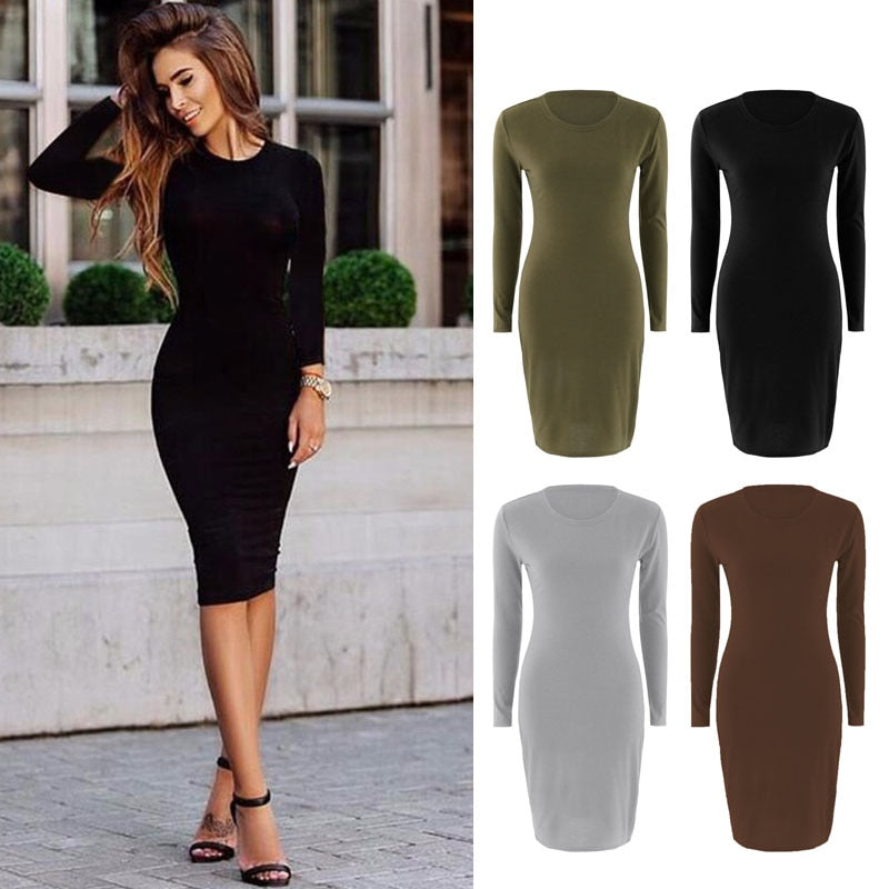 Autumn Spring Women Long Sleeve Dress  Sexy Slim Fit O-neck Casual Dresses