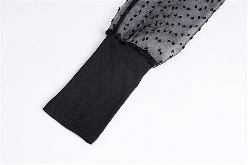 Mesh Sexy Bodysuit  Long Sleeve Women Autumn Body Tops Female O Neck Slim Polka Dot Black White