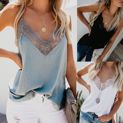 Women V Neck Lace Strappy Vest Tops Summer Casual Sleeveless Tank Shirt Tops