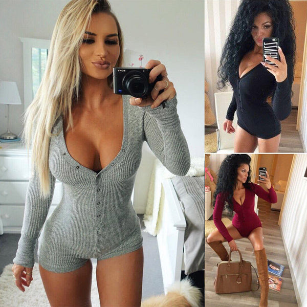 Sexy V Neck Bodysuit Long Sleeve Knitted Slim One-piece Outfit 2019 Autumn Casual Wear Cotton Bodycon  Jumpsuit S-XL