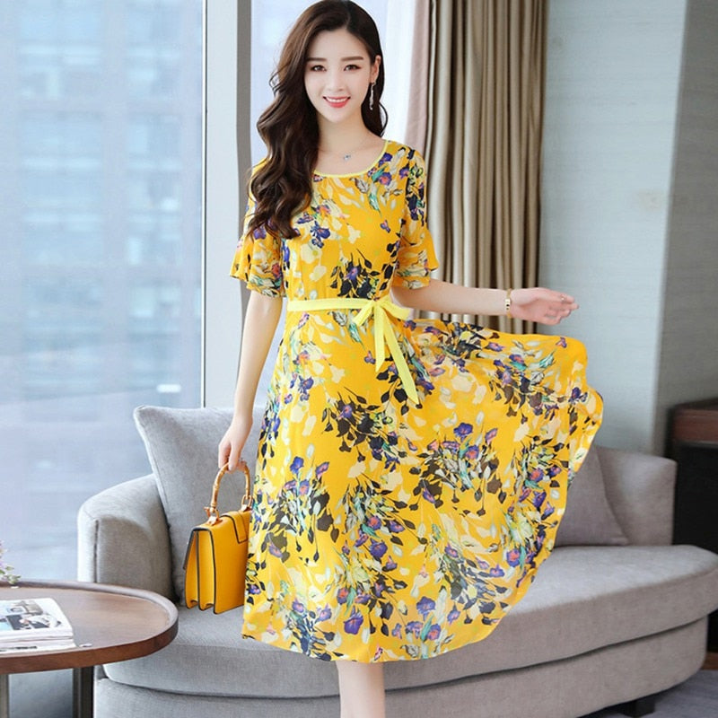 Summer Dress Women Floral Print O-Neck Bohemian Sundress Beach Dress Girl