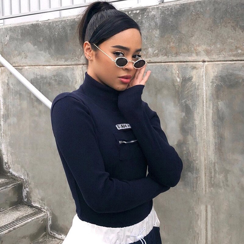Knitted Ribbed Bodysuit Womens Letter Printed Zipper Pockets Streetwear Long Sleeve Body Women Overalls Autumn