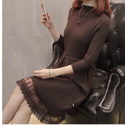 Women Warm Sweater Dress Autumn Winter Elastic Soild Long Sleeve Casual A-line Knitting dress Female Patchwork Race knit dress