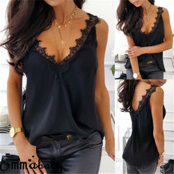 Women Sexy Lace Strappy V-neck Sleeveless Open Back Camisole Vest Ladies Tank Top Silk Cami Satin Effect