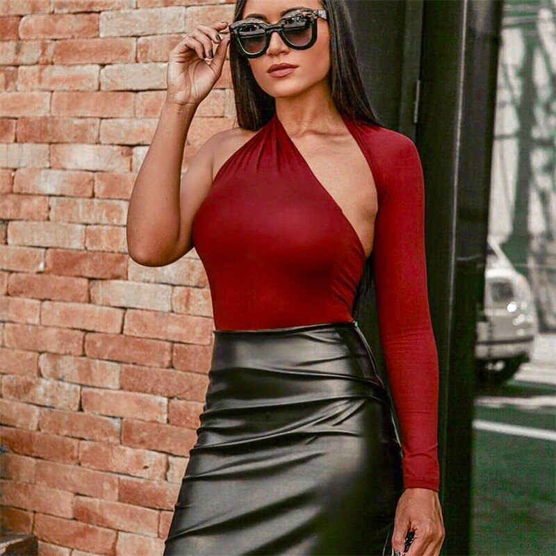 Single Sleeve Sexy Bodysuit Solid Autumn Winter Women Fashion Skinny Tight Playsuits Bodycon Stretchy Body