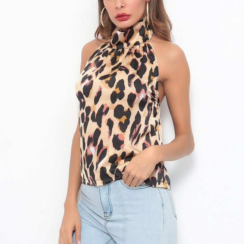 NEW HOT Women Summer Sexy Leopard Halter Camis Sleeveless Vest Casual Tank Femme Tops Leopard Top