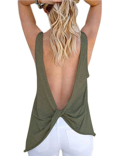 Loose Tank Tops Women Sexy Sleeveless Backless Shirt Knotted Vest Tops Open Back Blouse Female T-shirt Cotton Shirt for Women