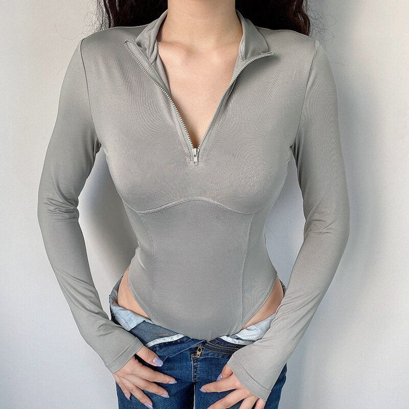Zipper Turtleneck Bodysuit Women Jumpsuit Ribbed  Long Sleeve Bodies Suits Bodycon Gray Bodysuits Winter Body Womens