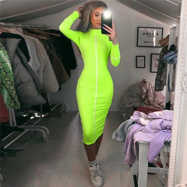 JIEZuoFang 2019 Summer And Autumn Women High Street Long Sleeve  Dress Temperament Slim Patchwork Contrast Midi Dress
