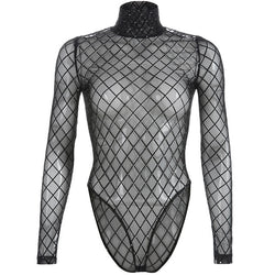 Hollow Out See Through Sexy Bodysuit Women Checkered Jumpsuit Black Turtleneck Plaid Bodysuits Street Wear Winter Body