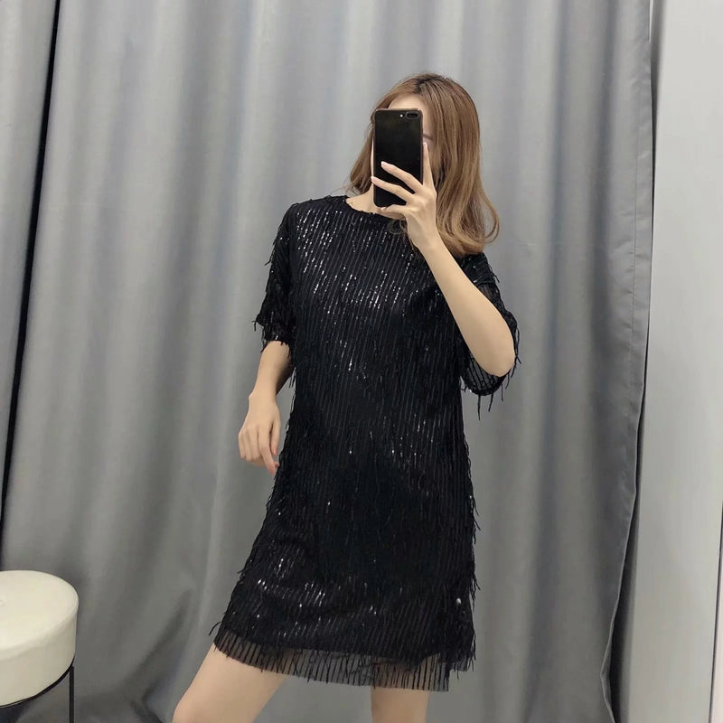 women dress  shiny fringed bright Chic lady green black streetwear sexy mini club party dress