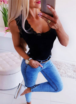 Mesh Bodysuits Women  Patchwork Hollow Lace Decor Sleeveless Solid Lady Skinny Top for Streetwear