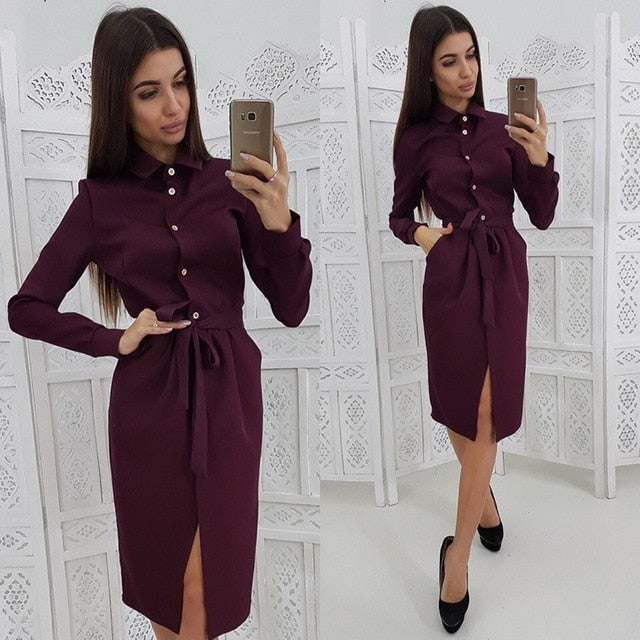 Women Vintage Front Button Sashes A-line Dress Long Sleeve Turn Down Collar Solid Elegant Dress Fashion Women Dress