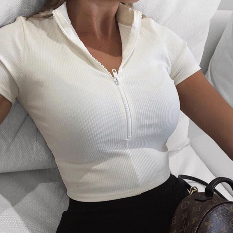 WannaThis Zipper Tanks Crop Top White Women V-Neck Fashion New Slim Short Sleeve Elastic Ribbed Casual Basic Ladies Sexy Cropped