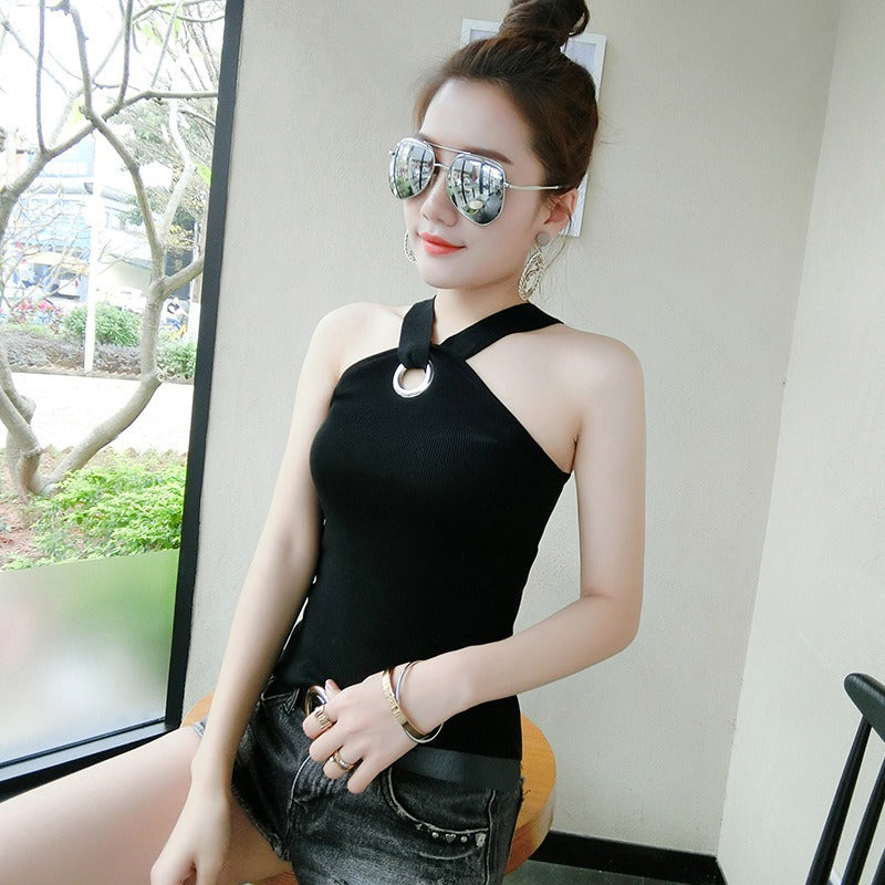 Summer Casual Sexy Solid Color Sexy Halter Vest Knit Elastic Tops Sleeveless Tank Tops