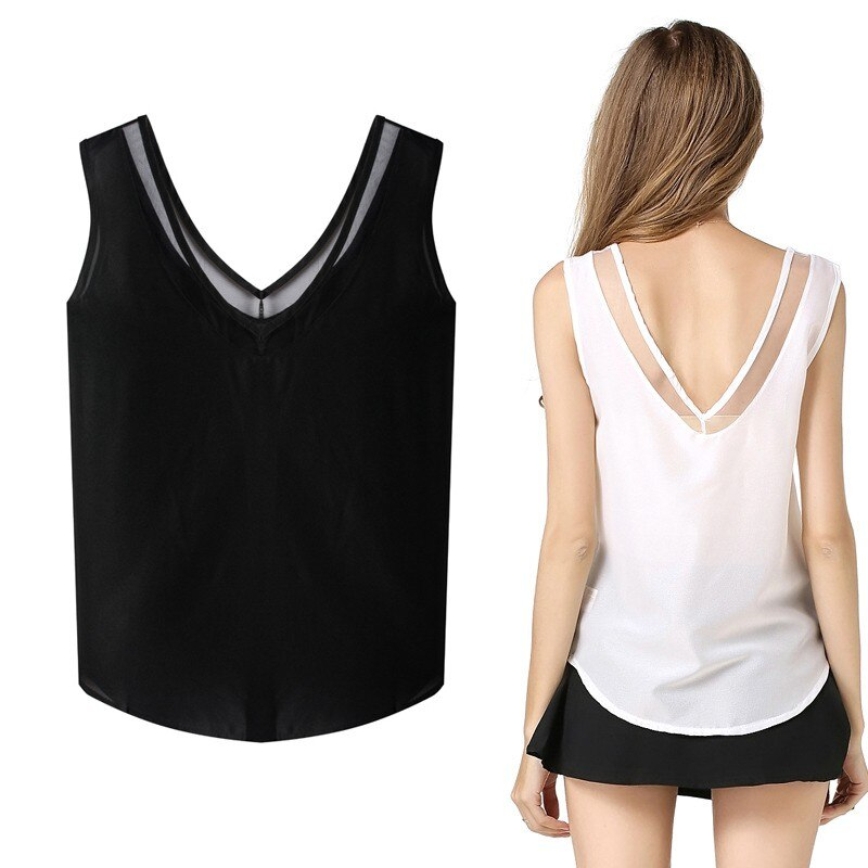 Fashion Women Summer Sexy Tops Chiffon Sleeveless V-Neck Casual Black White Tank Blouse Shirts Party Casual Tops New