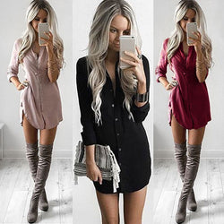 Fashion Women Casual T shirt Dress Elegant long sleeve Party Club Dress V neck OL Clothing Dames robe