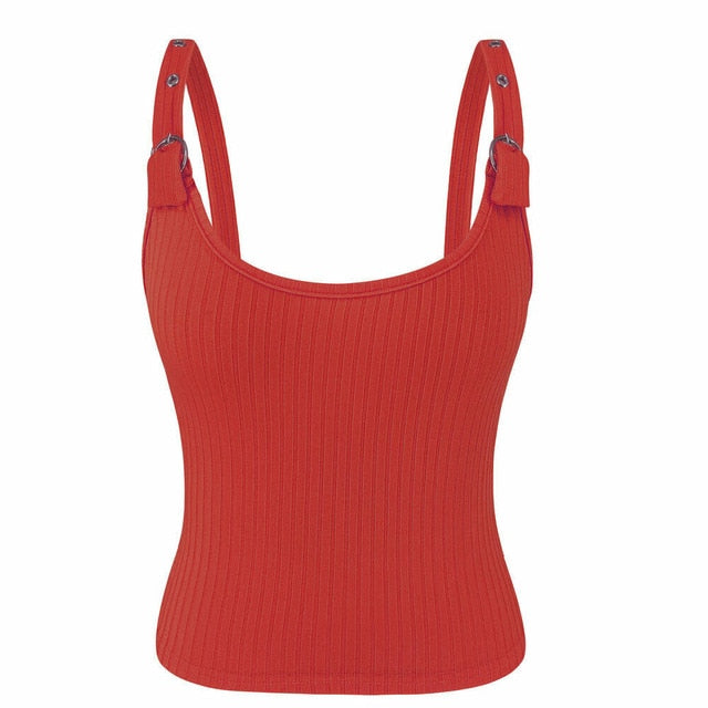 Women Bandage Sleeveless Tank Button Tank Vest Red White Ladies Casual Short Shirt Tops Shirt Female Brand
