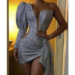 Women Glitter Silver Party Club Mini Dress Asymmetric V-neck Bodycon Sheath Vestidos Sexy One Shoulder Dress