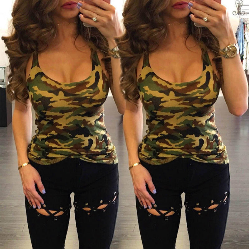 NEW HOT Fashion Women Casual Camouflage Sleeveless Summer Vest Tank Tops Shirt Blouse