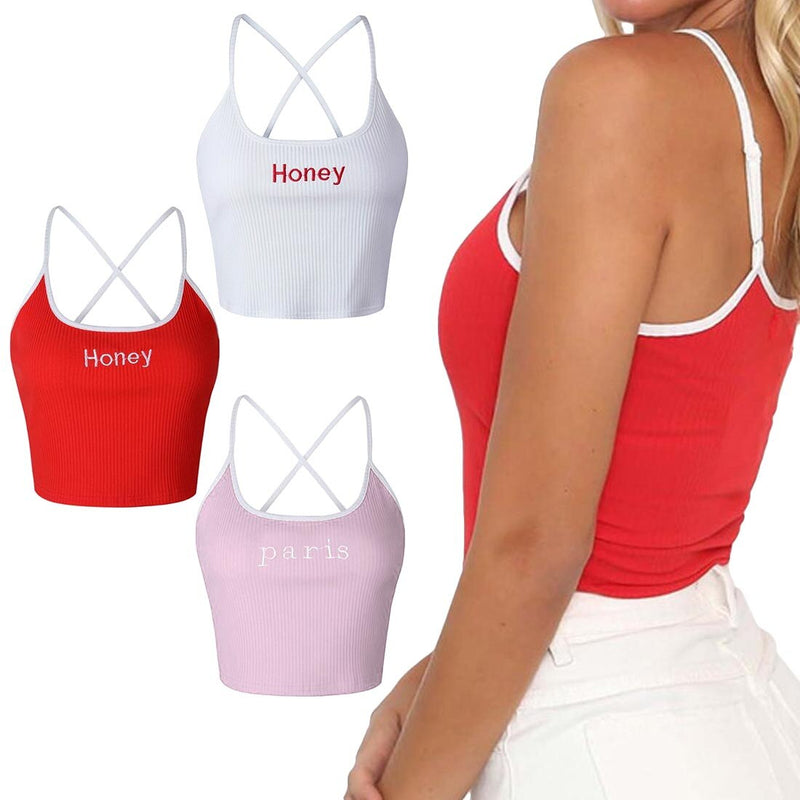 White Red Ladies Short Tight Shirt Women Fashion Honey Letter Strap Tank Tops Female Slip Crop Tops Sexy Club