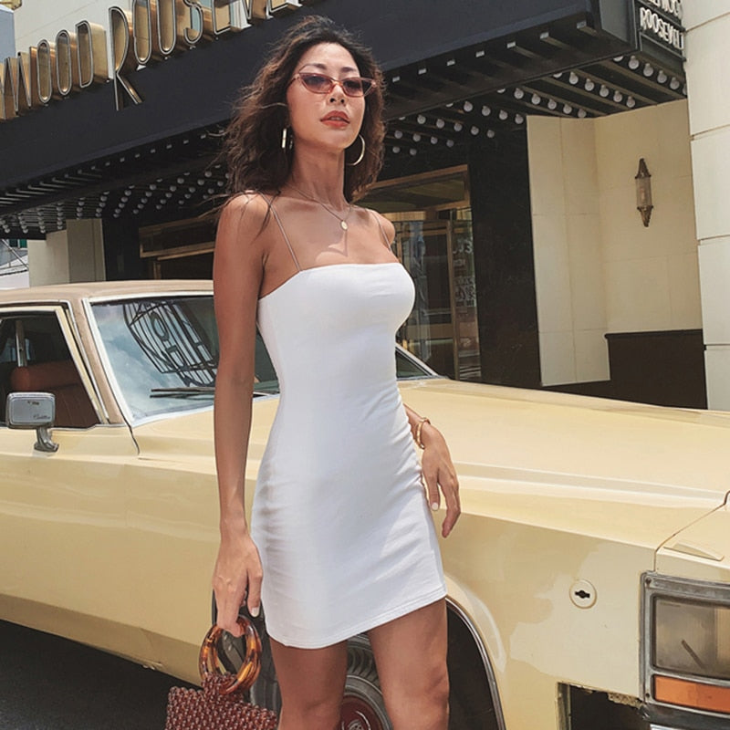 Womens Summer Solid Color Sexy Sheath Mini Dresses Evening Halter Sleeveless Club Wear Bodycon Dress Vestidos Dropshipping