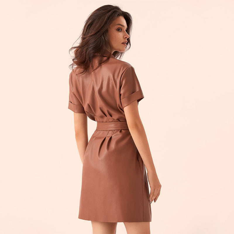 Women Pu Leather Sashes Mini Dress Office Ladies Turn Down Collar Short Sleeve Casual Dress  New Spring Party A Line Dresses