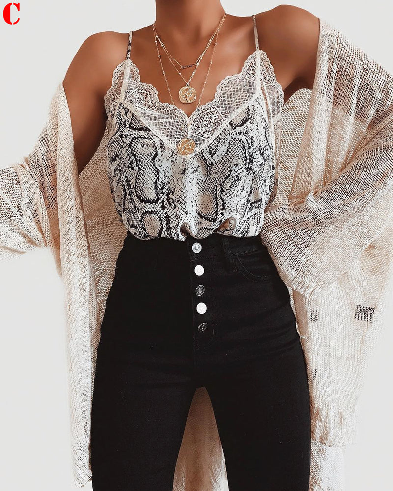 Women Summer Leopard Lace Fashion Camisole Sleeveless Vest Casual Tank Tops Silk Ladies Loose V-Neck Camisole T-Shirt Plus Size