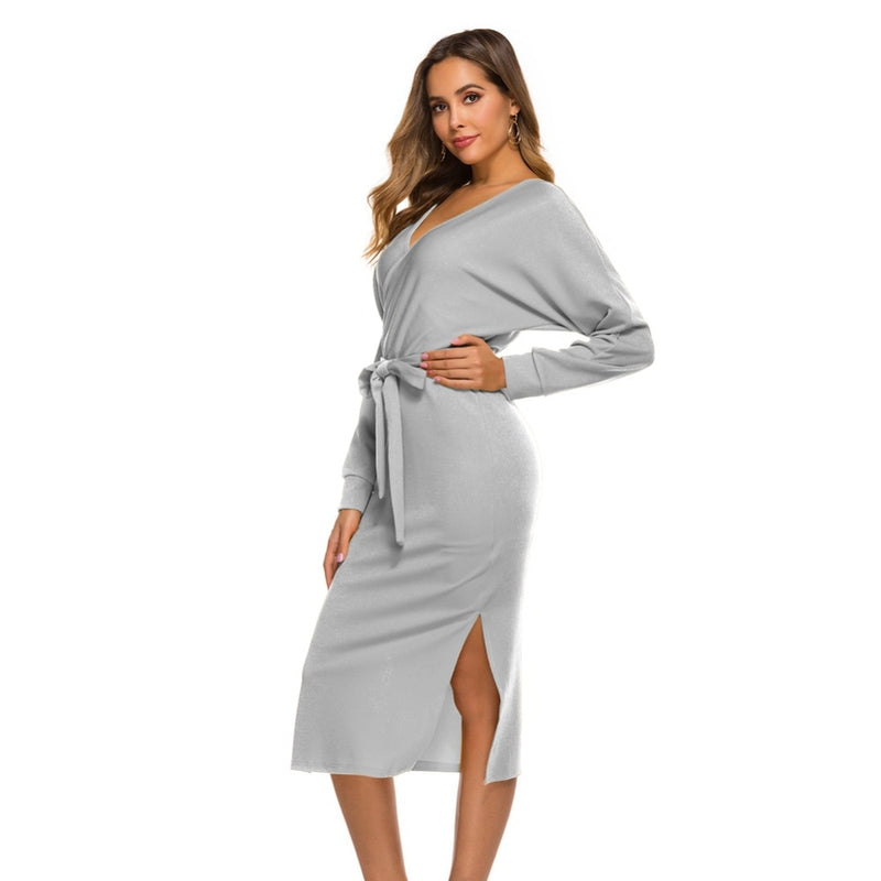 Sexy V-neck Long Sleeve Knitting Sweater Dress Women  Autumn Winter Bodycon Knitted Office Casual Ladies Dresses Robe Femme