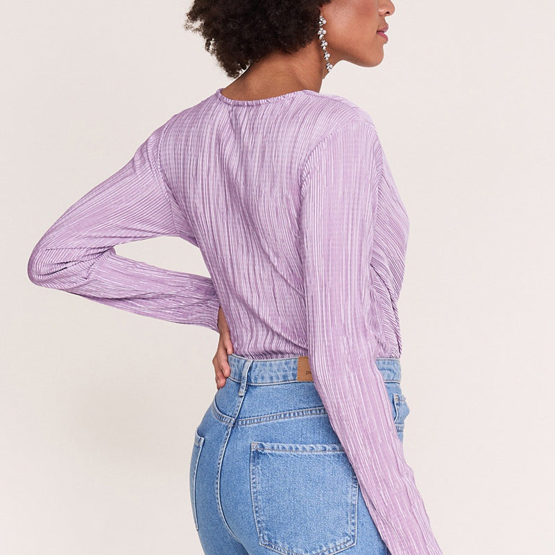 Pleated Wrap V-neck Bodysuits Soft Stretch Autumn Long Sleeve Body for Women 2019 Elegant Femininas Sexy Rompers Overalls