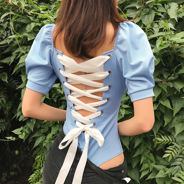 Criss Cross Bandage Tie Up Women Bodysuits Lantern Sleeve Hollow Out Streetwear Body Sexy Backless Bodies Jumpsuits