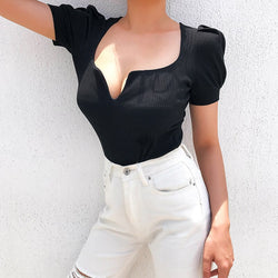 Gothic Sexy Deep V Bodysuit Women Ribbed Ladies Bodysuits Black Short Puff Sleeve Bodycon Jumpsuits Cotton Streetwear