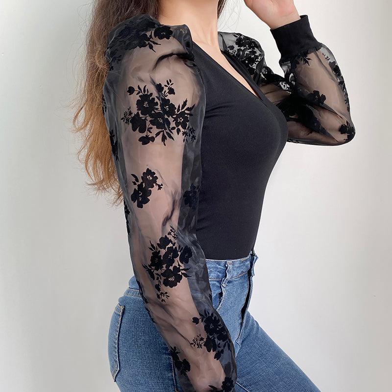 Flower Print Bodycon Women Bodysuit Mesh See Through Puff Long Sleeve Jumpsuit V-Neck Sexy Bodysuits White Winter Body