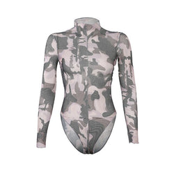 Tie Dye Turtleneck Sexy Bodysuit Women Jumpsuit Body Skinny Print Bodycon Long Sleeve Winter Bodies Bodysuits Ladies