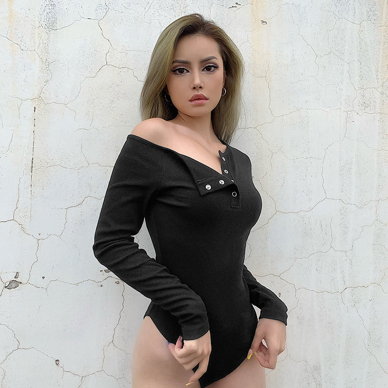 Skew Collar Bodysuit Women Jumpsuit With Button Harajuk Bodycon Streetwear Long Sleeve Bodysuits Fall Winter Body Femme