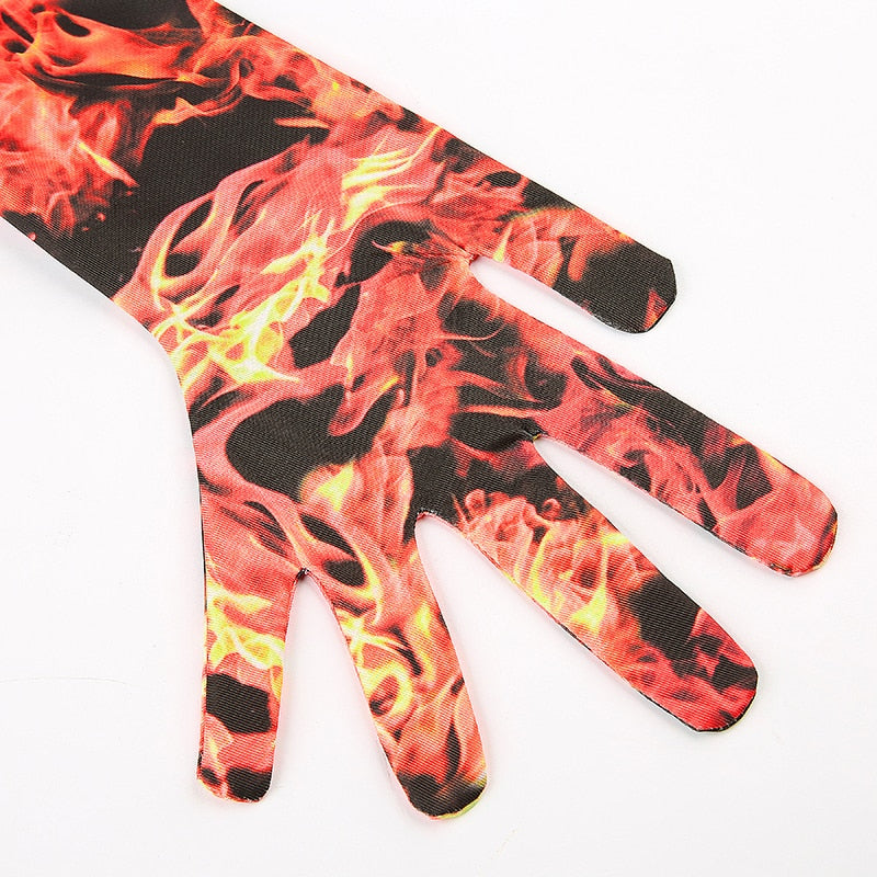 Fire Flame Print Women Bodysuit With Gloves Long Sleeve Red Jumpsuit Turtleneck Bodysuits Street Wear Winter Body Fall