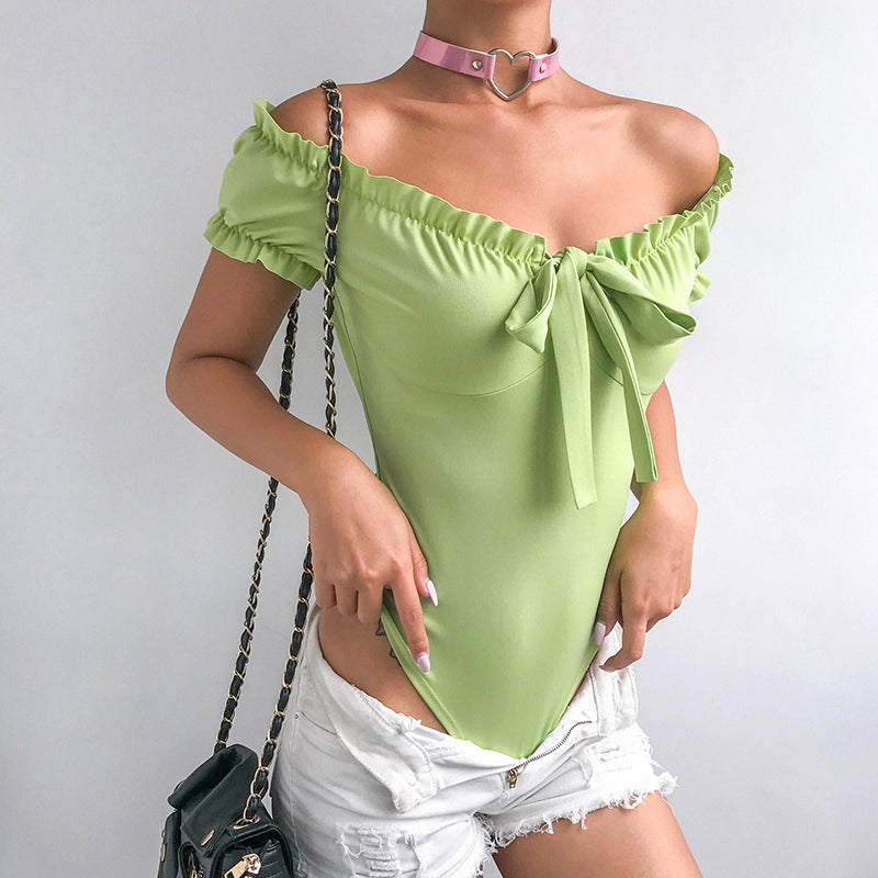 Casual Off Shoulder Womens Jumpsuit Bow Sexy Clubwear Short Sleeve Bodycon Fashion Ladies Bodysuits Black White Green
